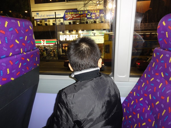 He thoroughly enjoyed the ride an always sat at the top front seat for better view