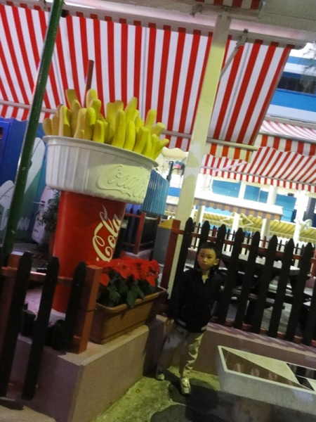 Coca Cola and fries. I took his picture in front of this food stall before we finally came home