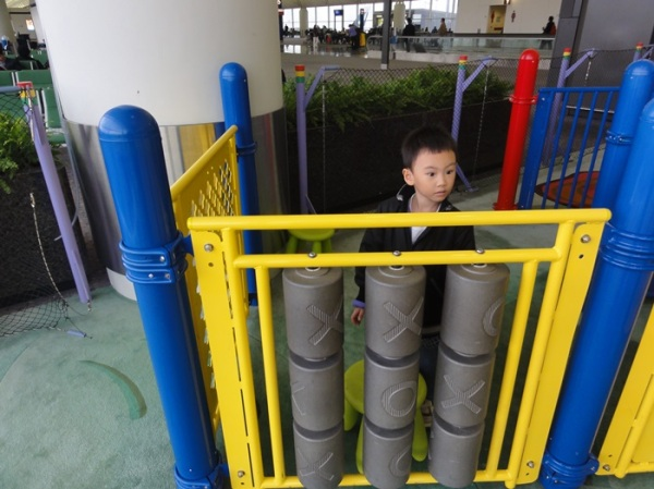 Although he was disappointed when he saw there was no slide, but he finally enjoyed playing here, especially after another kid joined in and they played together