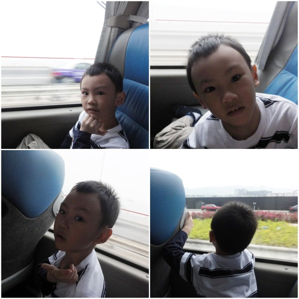 He was busy making faces and looking out the window before he finally slept on the long way to Senado Square