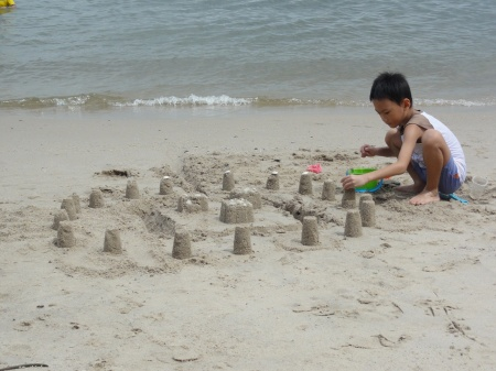 Decorating the sand castle