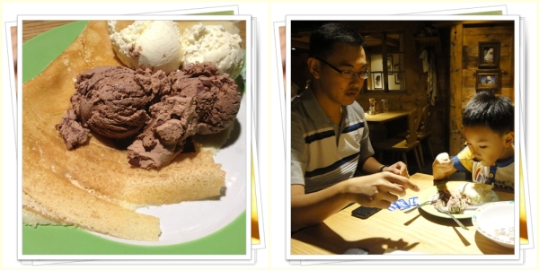 Our order: sweet crepes with vanilla and chocolate ice cream