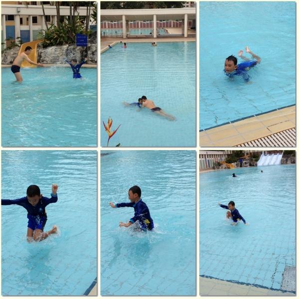 Having fun in kids pool