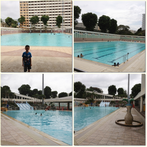 The wadding pool and lap pool ( top), the kids pool (bottom)