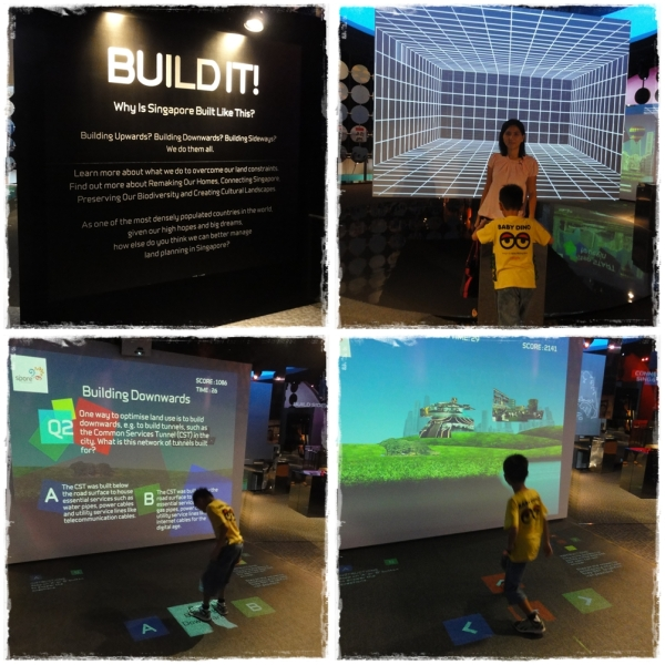 In this gallery, you can watch 4D movie about the development of Singapore, such as train construction. There are also quiz and interactive play which test our knowledge about Singapore. Of course we didn't pass.......