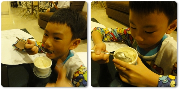 Turkish Ice Cream (chocolate, vanilla, and durian flavor) for 12 ringgits. Lil boy of course chose vanilla flavor.