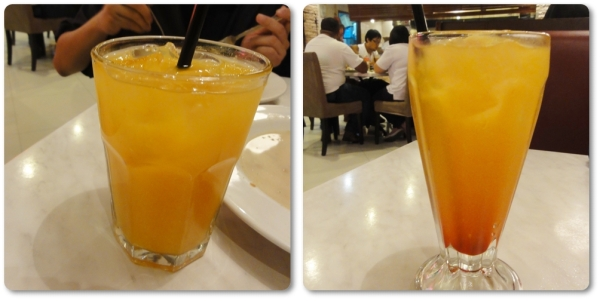 Orange juice and triple punch. Love the fruit punch so much that we ordered this twice