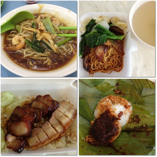 Top: lor mee and wonton noodle. Bottom: pork rice and nasi lemak