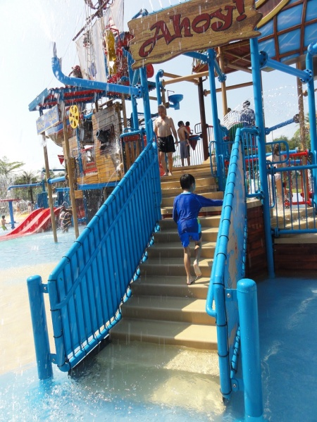 Ahoy Pirates......This is the captain gathering all onboard! Stand by at the water guns or take the slide down to your position. It's going to be a wet and wild adventure