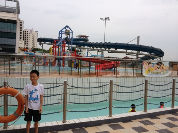 Lazy river, tall slide, and kiddy pool