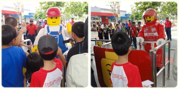 The gate will be opened at 10 am sharp, but before that the kids can shake hands and taking pictures with these lego guys (I don't know their names, so let's just call them lego guys..........)