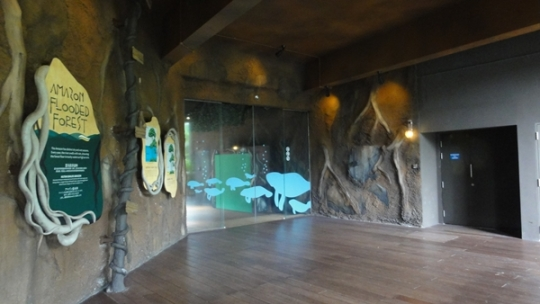 Entrance to the Amazon Flooded Forest, turn right from the entrance door of River Safari