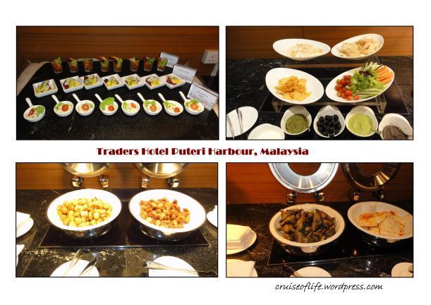 Entree food, salad,