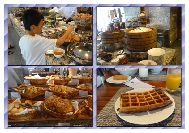 Bread, dimsum, and I especially loved the waffles with maple syrup and strawberry sauce