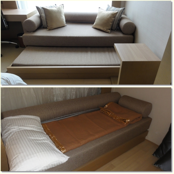Sofa bed with extra pillow and blanket
