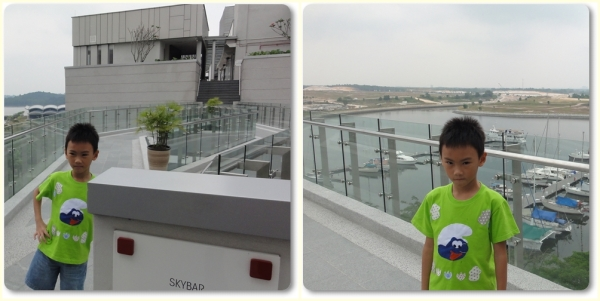 Cross another bridge and climb up the stairs to go to the swimming pool and skybar