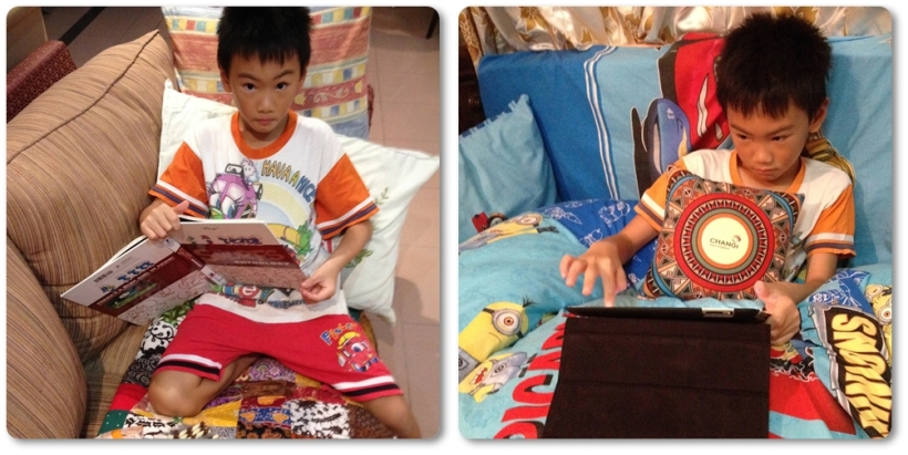 We borrowed many books from the library and read all day long. That small soft pillow on the right picture was a souvenir from answering quiz in The Great Adventure Exhibition in Changi Airport