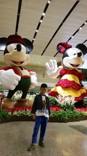 We went to Changi Airport to pick up my mom and sister one day before we left to Gold Coast, and we saw Mickey and Minnie Mouse were ready to celebrate Christmas in Terminal 2