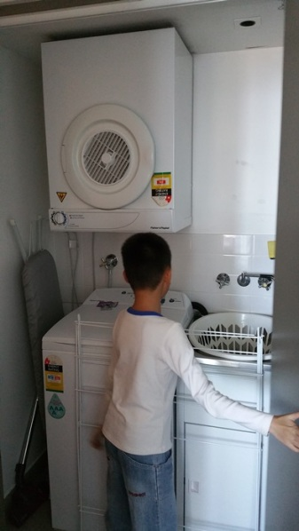 Laundry facilities: washing machine, dryer, and ironing board with a steam iron