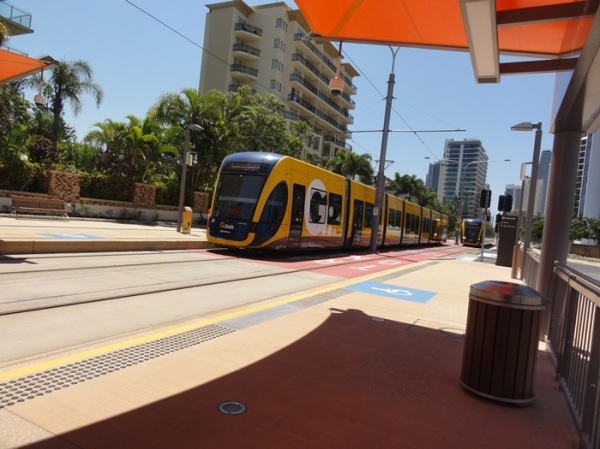 The bright yellow tram