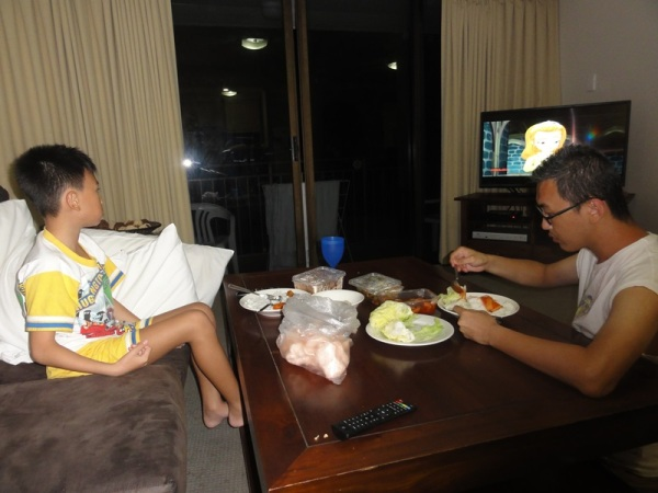 During the holiday, the boy mostly dines in front of the TV