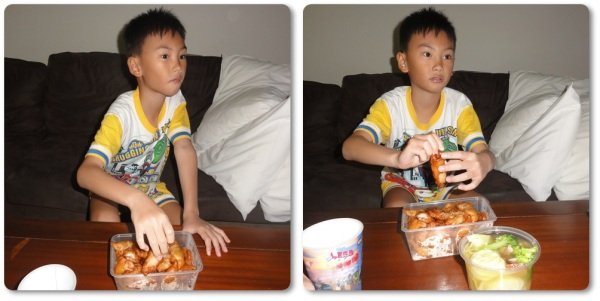 Rice was not cooked yet but he was alreday very hungry, so he ate the chicken only but his eyes were still glued to the Garfield Movie in boomerang channel