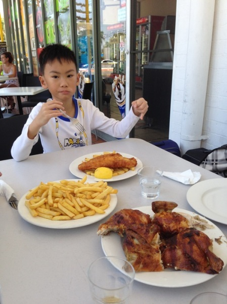 His first fish and chips for AUD 11 and one portion of whole chicken with fries for the rest of us for AUD 22. Even after we were all fulled, we still had some leftover chicken.