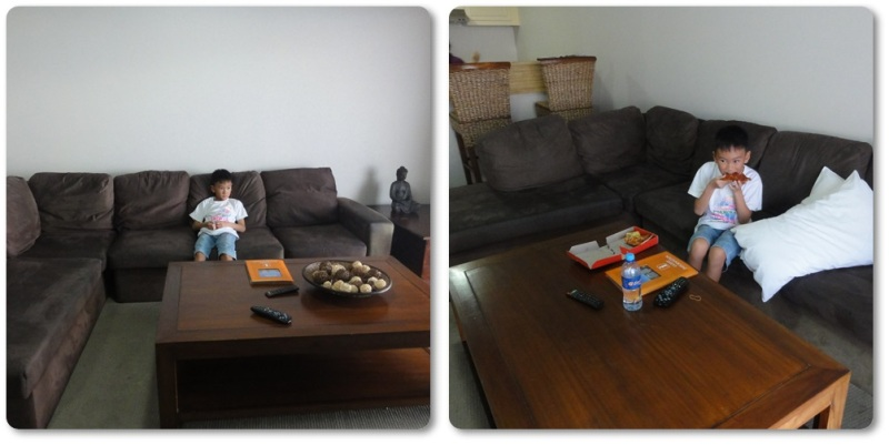 The boy's favorite place: the living room where he could watch TV in his free time.