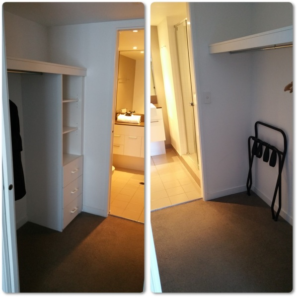 The small but nice walk in closet which connected the master bedroom and the bathroom