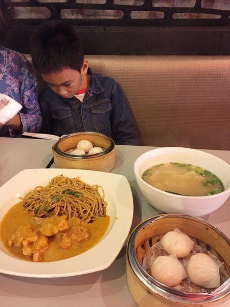 Wanton soup, prawn dumpling, and ramen with pork in Portuguese sauce which surprisingly good