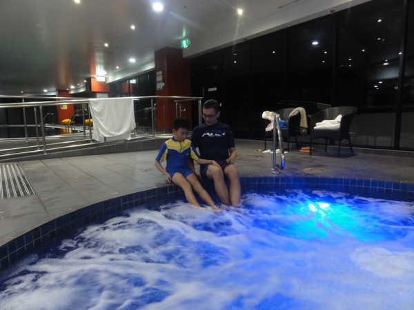 Jacuzzi time...........luckily, I remembered to bring our swimsuits