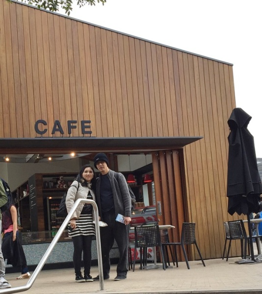 We spotted a cafe before outside and look whose already hungry.........
