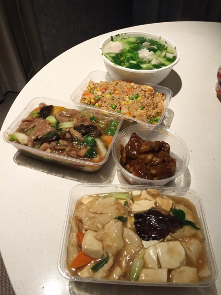 Seafood tofu, beef, pork, fried rice (non halal), and wonton soup for our dinner. I also cooked rice that night