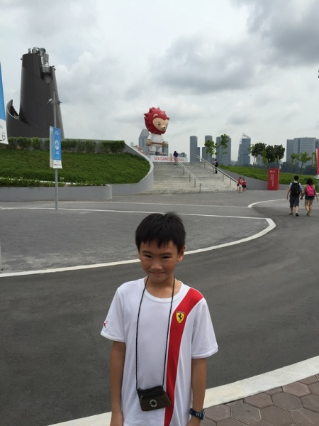 He took picture with Nila (The SEA Games Mascot) outside the stadium