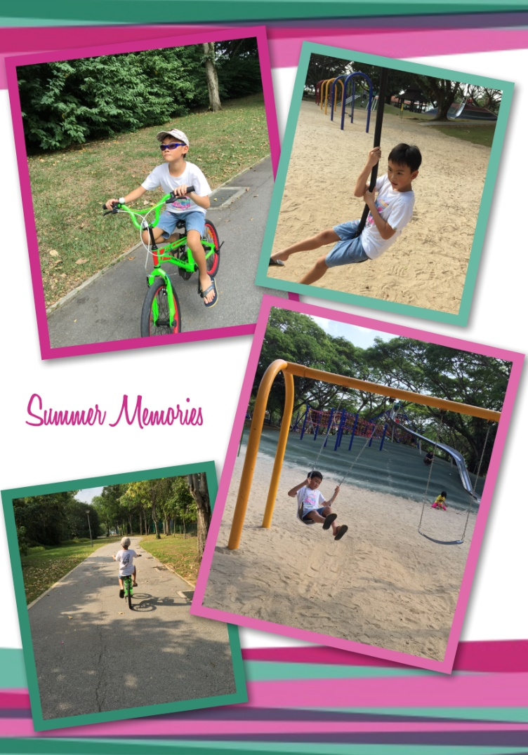 Day Out with mommy during school holidays: although it was very hot but I agreed to go cycling to the park with him