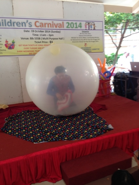Balloon magic show.............all I could imagine was how hot he must be in that suit and inside the balloon