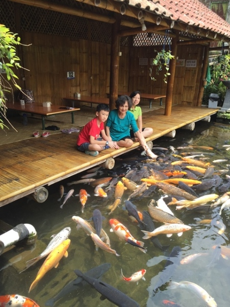 Even adults enjoyed fish feeding session.............