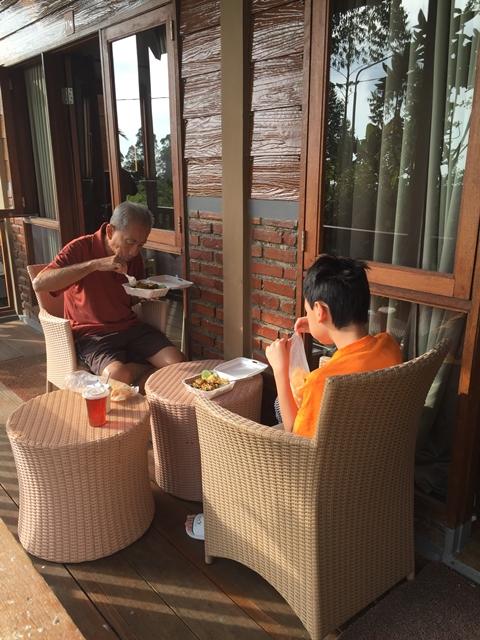 Eating at the porch