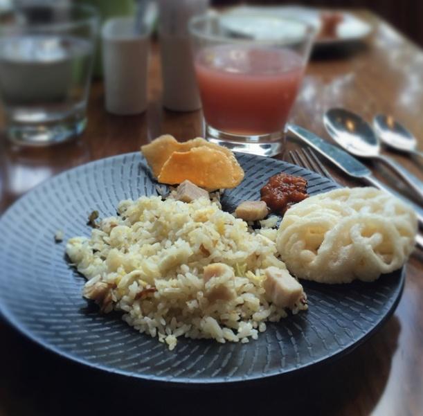 My favorite of the day: pork fried rice, sambal, and keropok