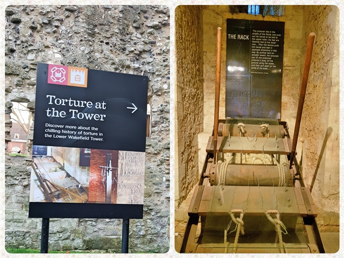 The Rack was The Tower of London most infamous torture instrument. The iron frame containing three wooden rollers would keep the victims stretched.