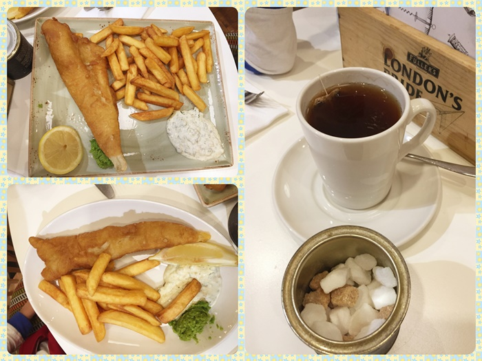 Fish and Chips and tea with my favorite sugar cubes