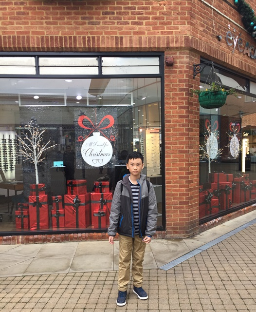 The boy in front of a shop which was already full with Christmas decorations