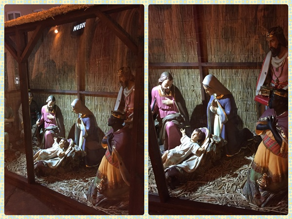 Nativity set in the building near the bus stop