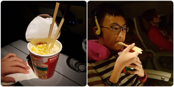 Look who still continued eating while other passangers were sleeping................
