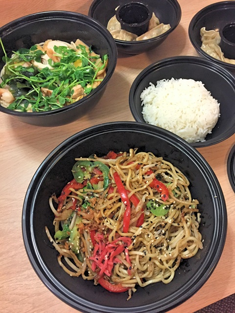 Since we were so tired, we just had a takeaway dinner from Wagamama (yakisoba, ramen, gyoza, and rice)